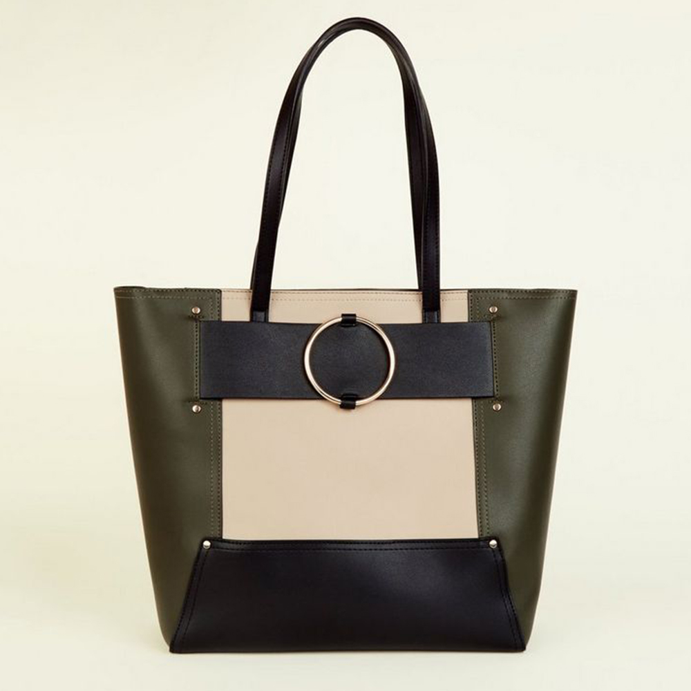 good selling new design autumn shoes New Look Leather-Look Ring Strap Dark Khaki Tote Bag