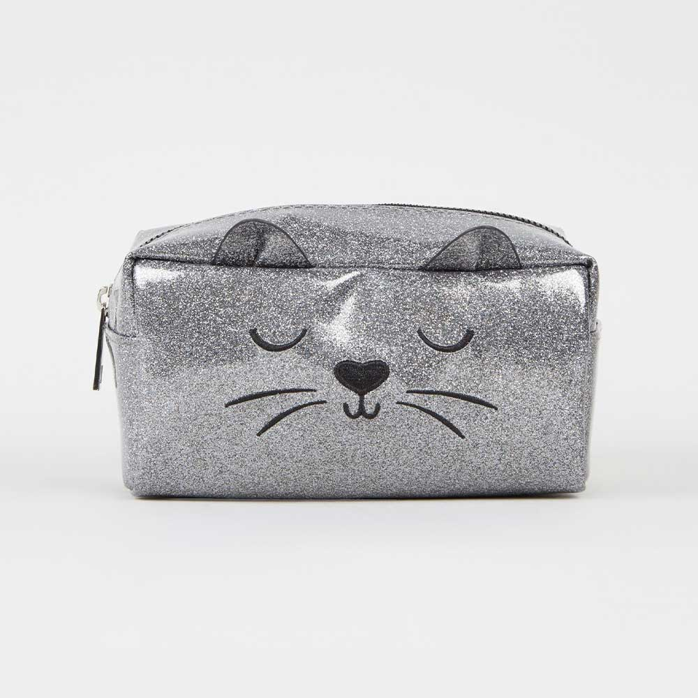 best loved discount shop special for shoe New Look Grey Glitter Cat Makeup Bag